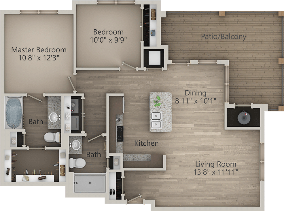A Collection 05 unit with 1 Bedrooms and 2 Bathrooms with area of 690 sq. ft
